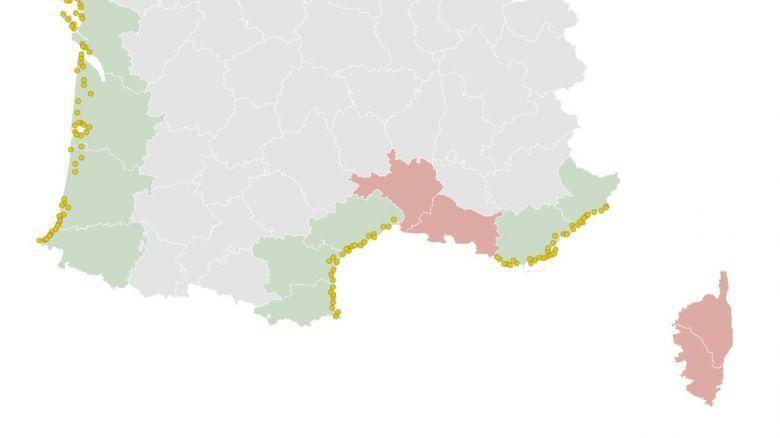 Capture d'écran carte des plages ouvertes à partir du 16 mai. / © FranceInfo