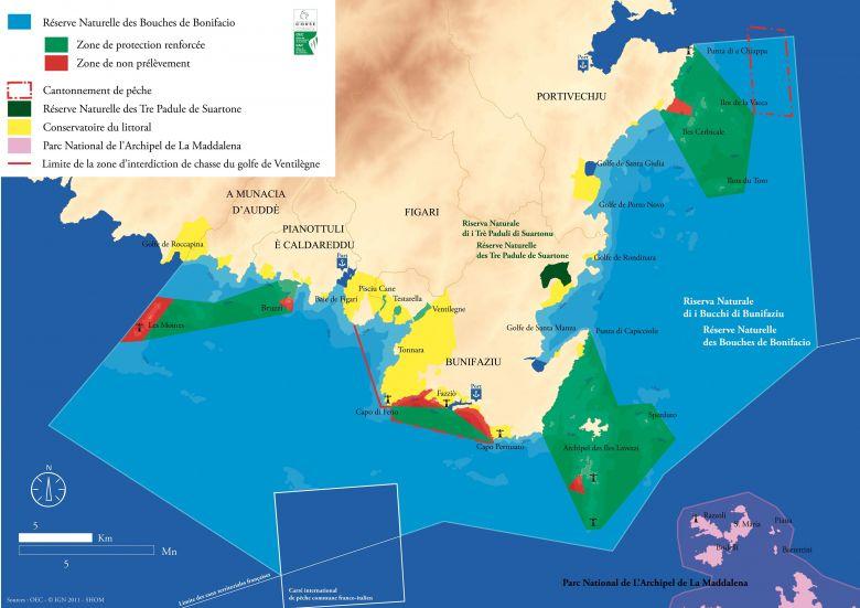 C'est dans cette zone, au fond de la Méditerranée, au sud-est de Bonifacio et au Nord de l'archipel de la Maddalena que des quantités record de microplastiques ont été découvertes. / © Réserve naturelle de Bonifacio